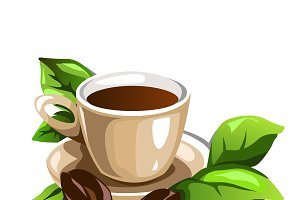 Cup of coffee with beans and leaves