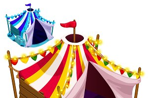 Open festive circus tent