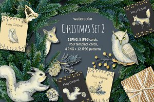 Christmas Set 2. Watercolor.