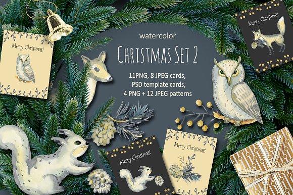 Christmas Set 2. Watercolor. - Illustrations