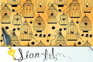 seamless pattern with bird cage
