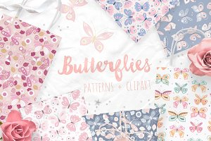 Butterfly vector patterns & clipart