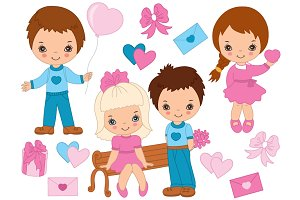 Vector Valentines Day Kids Set