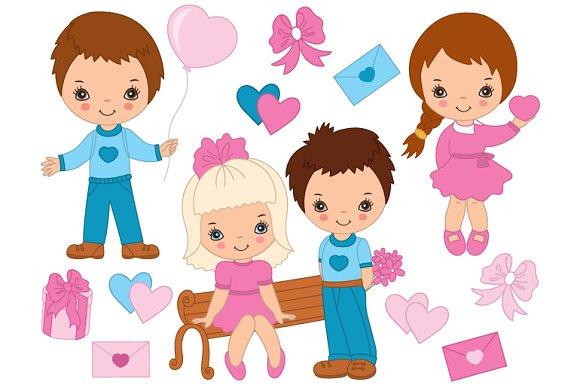 Vector Valentines Day Kids Set - Illustrations