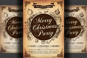 Vintage Christmas Psd Flyer Template