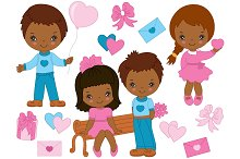 Vector Valentines Day Kids Set
