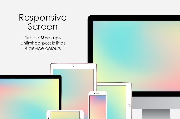 Responsive Screen Simple Mockups Set