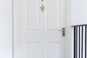 Retro white wooden entrance door