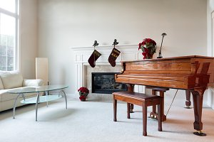 Piano decorated with holiday objects