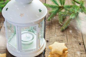 Homemade Christmas cookies stars and lantern, illustration of sn