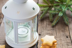 Homemade Christmas cookies stars with ginger and lantern