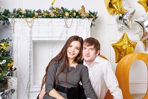 Couple, Christmas tree, gifts