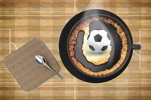 coffee cup with soccer ball