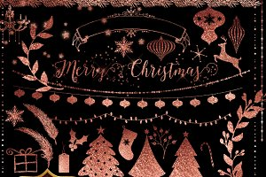 Rose Gold Christmas Clipart
