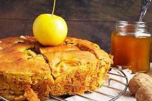 Apple pie, yellow apples, walnuts
