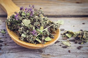 Dry herb tea in a wooden spoon
