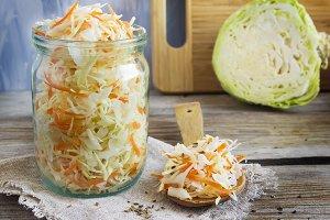 sauerkraut with fennel seeds, selective focus