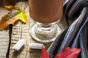 Cocoa with marshmallows, scarf and autumn leaves