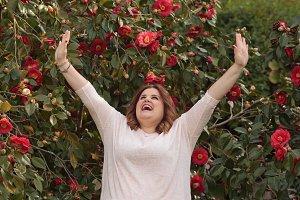 Woman celebrating spring