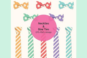 Bow Ties & Neckties Clipart Set