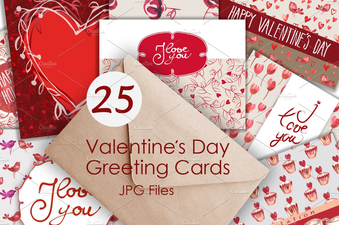 25 Valentines Day Greeting Card Graphic Patterns Creative Market
