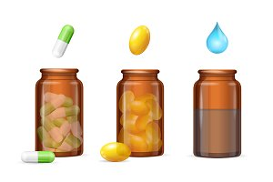Pills Capsules in Medical Bottle