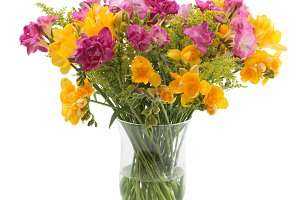 Freesia flowers bunch in a vase