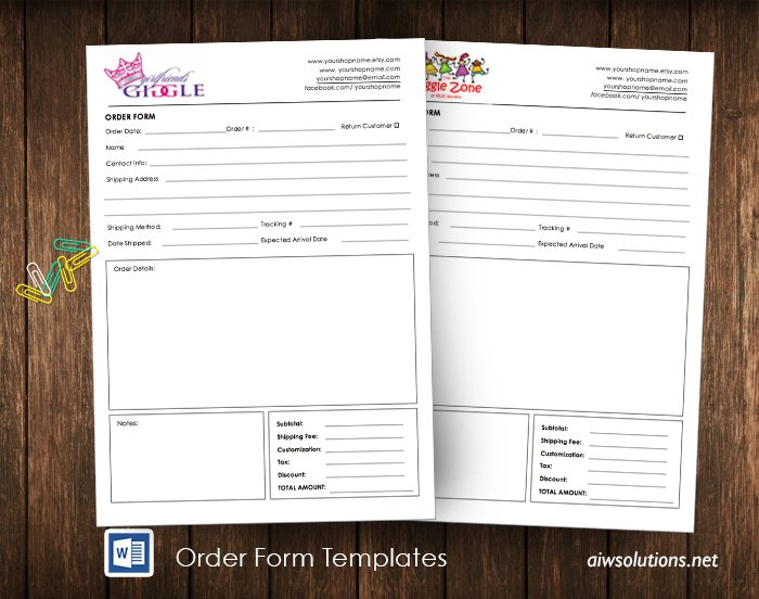 Order Form Id22 Stationery Templates Creative Market