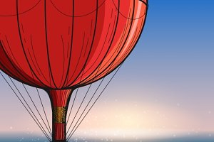 Hot air balloon travel poster