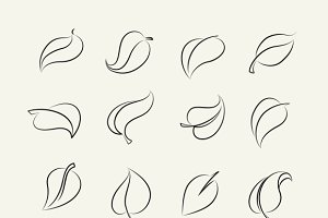 Outline sketch leaf set