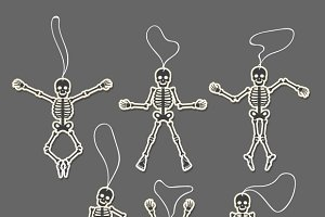 Paper cut skeletons set