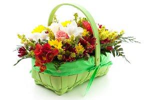 Floral arrangement in a basket