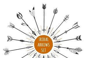 Hand drawn tribal arrows set