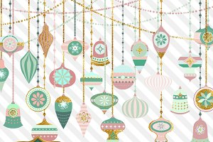 Mint Gold Christmas Ornaments