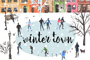 Winter town. Hand drawn set