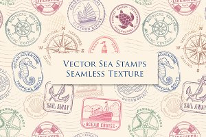 Sea Stamps Seamless Texture