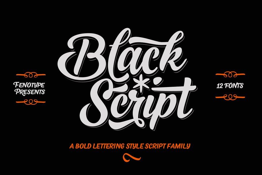 Black Script -12 fonts + extras pack
