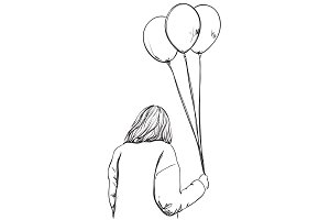 Fashion girl with balloon in hand