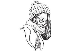 Girl in winter scarf and hat
