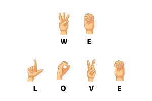 We love you, phrase on hand language