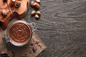 Food background of hazelnut spread