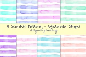 Watercolour Stripes Background Set