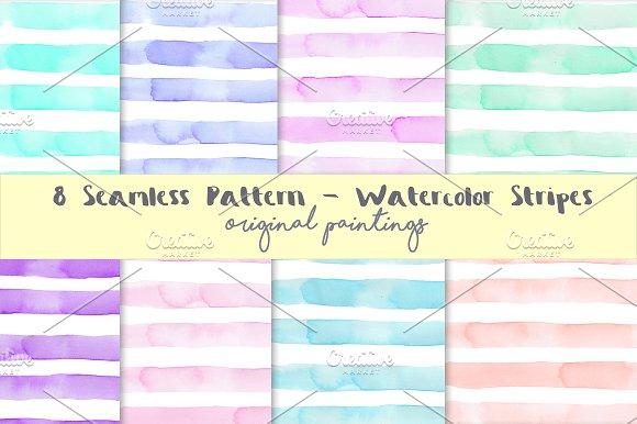 Watercolour Stripes Background Set