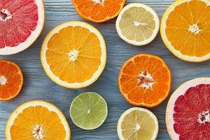 Fresh citrus fruits mix