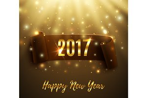 Happy New Year 2017 card.
