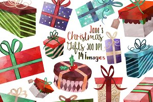 Watercolor Christmas Gifts Clipart