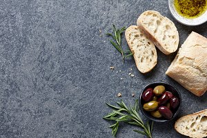 Food background with Italian ciabatta