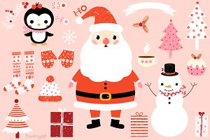 Christmas clip art set with Santa