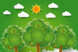 template Set of Green Forest
