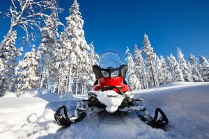 Snowmobile in snowy Finland